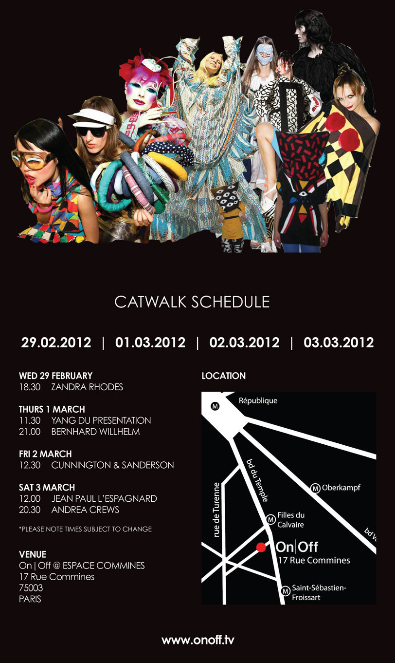 Provisional Catwalk Schedule On|Off AW12